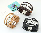 Fashion Feather Leather Wrap Wristband Cuff Magnetic Buckle Bracelet Bangle New