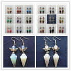 Pair of Beautiful mixed stone With Silver wing earrings LX165 (Randomly send)