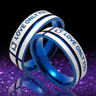 """Unisex Lover Blue Silver """"Love Only You"""" Cross Titanium Finger Band Ring Classic"""