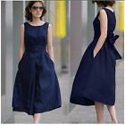 Elegant Womens Summer Sleeveless Cotton And Linen Solid Casual Long Dress