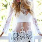 CHIC Boho Summer Beach Sexy Women Ladies Lace Crochet Long Sleeve Top Size S-XL