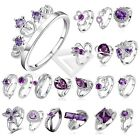 1pc Women 925 Silver Plated Rings Rhinestone Purple Wedding Engagement Size7-8