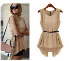 Womens Loose Collect Waist  Chiffon Shirts Blouses Tops Sleeveless Dress
