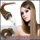 #8 Brown Real Remy Long Loop Micro Rings Beads Tipped Human Hair Extensions USA