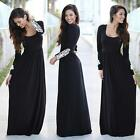 Women Spring Long Sleeve Casual Lace Loose Maxi Dress Party Evening Black HK