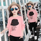 New Spring Fashion Kids Girls Casual 2 Pieces Suit Bat T-Shirt+Pants 3-11Y Pink