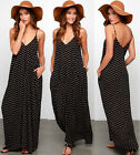 Women Sleeveless Strappy Polka Dot Long Maxi Dress Summer Beach Sundress