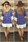 Women fashion Lace 3/4 sleeve Loose butterfly sleeve sweet casual dress Long top