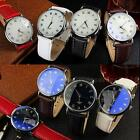 Men's Leather Stainless Steel Sport Waterproof Quartz Pointer Wrist Watch PHNG