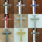 Crystal Rhinestone Curved Side Ways Metal Cross Bead Pendant Connector Charm Lot