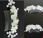 Wedding White Flower Pearl Hair Comb Clip Comb Wedding Bridal  Headpiece