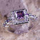 Amethyst White Topaz Gemstone Jewelry Silver Ring Size 6 7 8 9 10 Princess Cut