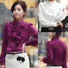 OL Lady Ruffles Collar Slim Fit Long Sleeve Solid Chiffon Shirt Blouse Suits