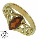 BJC® 9ct Yellow gold Garnet Marquise Celtic Solitaire Band Ring size N ring R131