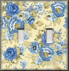 Floral Home Decor - Light Switch Plate Cover - Blue Roses On Cream - Rose