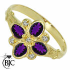 BJC® 9ct Yellow gold Amethyst & Diamond Art Deco Cluster engagement ring R255