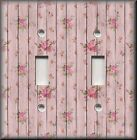Shabby Chic Home Decor - Light Switch Plate Cover - Roses On Wood Image 01