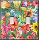 Floral Home Decor - Light Switch Plate Cover - Tropical Flowers Butterflies