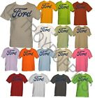 GRAPHIC PRINTED T-SHIRT-FORD GRAY SCRIPT LOGO ONLY CAR TRUCK SHOW APPAREL GEAR