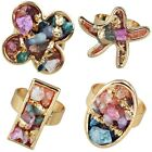 Colorful Mixed Drusy Geode Gemstone Chips Adjustable Ring Heart/Oval/Star/Square
