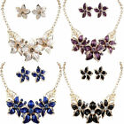 Fashion Women Gold Plated Jewelry Set Crystal Flower Statement Necklace Earrings