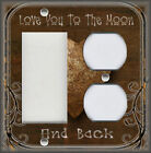 Metal Light Switch Plate Cover - Love You To The Moon Home Decor Brown Decor