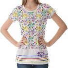 Multicolour Floral Patterns Womens Ladies Short Sleeve Top Shirt Blouse