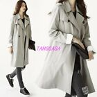 Kroean Womens Casual Double Breasted Long Trench Coat British Jacket Peacoat