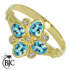 BJC® 9ct Yellow gold Blue Topaz & Diamond Art Deco size O engagement ring R204