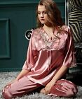 Hot selling women lace sleepwear / top quality long sleeve 100% silk pajamas