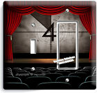 TV ROOM HOME MOVIE THEATER BIG SCREEN RED CURTAIN LIGHT SWITCH WALL PLATE OUTLET