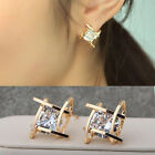 Fashion Women Vogue Lovely Elegant Crystal Rhinestone Square Ear Stud Earrings