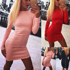 Womens Bodycon Long Sleeve Jumper Sweater Tops Pullover Dress Back Zip up Dress