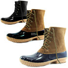 Women Snow Boots Ankle Plain Collar Cute Duck Padded Mud Rubber RainBoots Shoes