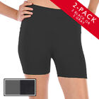 "2pk Seamless Stretch Yoga Shorts Gym Run Bike Nylon Spandex 3"" Inseam One Size"