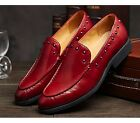 US Size 5-11 Studs Leather Mens Dress Formal Slip On Loafer Shoes Free Cufflink