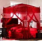 Luxury Princess Lace 4 Post Arched Bed Curtain Canopy Mosquito Net With Frame