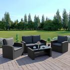 Grey Black Rattan Garden Furniture Patio Conservatory Sofa Set Weave FREE COVER