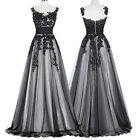 Black Vintage Long Bridesmaid Cocktail Dress Formal Evening Prom Gown Size 16++