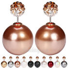 Lackingone Hot Celebrity Double Sided Crystal Pearl Bead Earring Ear Studs #N19