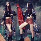Women Chiffon Boho Tassel Long Tops Cardigan Blouse Beach Floral Kimono Cover Up