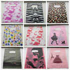 """100 FASHION PLASTIC CARRIER BAGS -- Printed Strong Gift or Shop Bags 10 x 8"""""""
