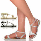 WOMENS LADIES FLAT STRAPPY SUMMER T-BAR SPARKLY DIAMANTE EVENING SANDALS SIZE