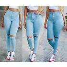 HOT Sexy Women Denim Skinny Pants High Waist Hole Stretch Slim Pencil Jeans AU