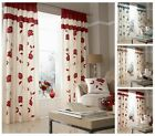 Floral Trail Fully Lined Faux Silk Pencil Pleat Curtains, Designer Curtain Pair