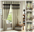 Designer Fully Lined Eyelet Curtain Pair, Harvard Ring Top Curtains Collection
