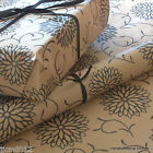 Dahlia Flowers Patterned Kraft Brown Wrapping Paper 5 or 10 mtrs Vintage Style