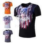 Men's Slim Fit Tops T-Shirt Cycling Muscle Short Sleeve Skull Costume Gym M-XXL