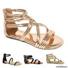 New Women Summer Casual Gladiator Strappy Flip Flops Flat Sandals Open Toe Shoes