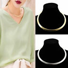 1X Punk Polished Collar Necklace Curved Mirrored Choker Metal Chain Gothic Style